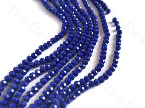 Blue Opaque Rondelle / Tyre Faceted Crystal Beads