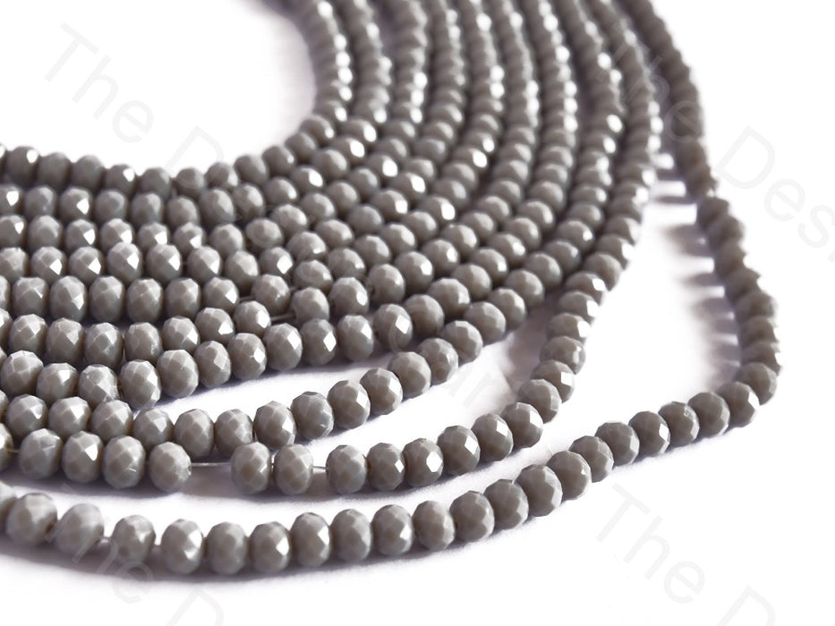 Gray Opaque Rondelle / Tyre Faceted Crystal Beads