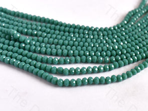 Sea Green Opaque Rondelle / Tyre Faceted Crystal Beads