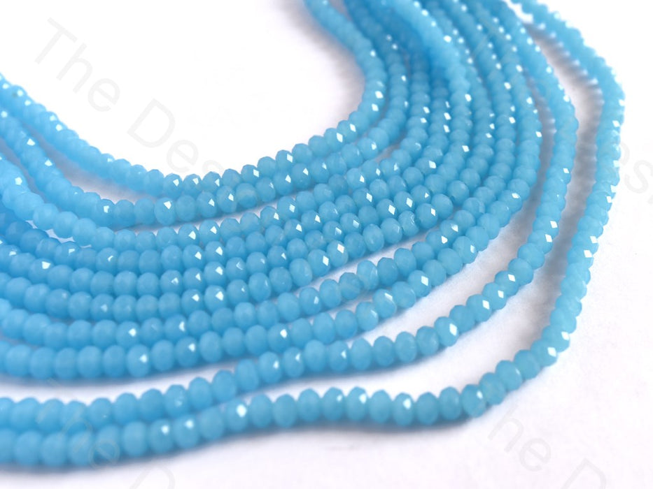 Translucent Aqua Opaque Rondelle / Tyre Faceted Crystal Beads