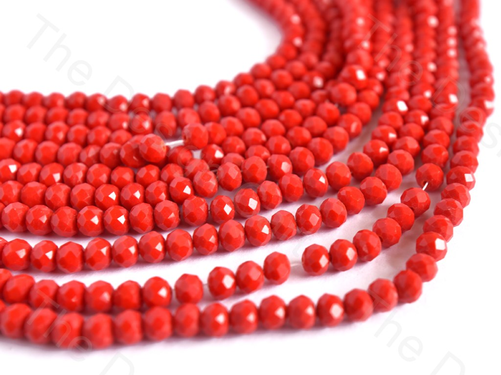 Red Opaque Rondelle / Tyre Faceted Crystal Beads
