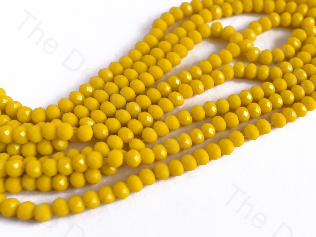 Yellow / Lemon Opaque Rondelle / Tyre Faceted Crystal Beads