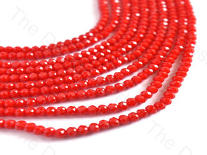 Translucent Red Opaque Rondelle / Tyre Faceted Crystal Beads