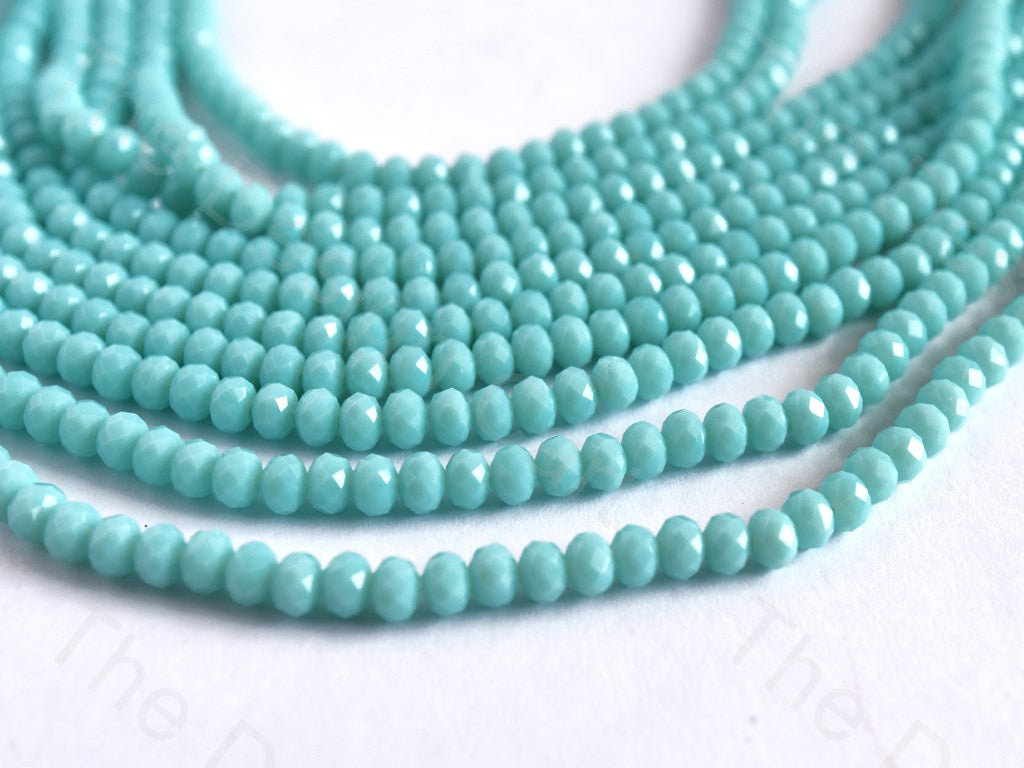 Sea Blue Opaque Rondelle / Tyre Faceted Crystal Beads