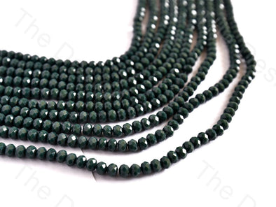 Dark Green Opaque Rondelle / Tyre Faceted Crystal Beads