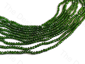 Dark Green Transparent Rondelle / Tyre Faceted Crystal Beads