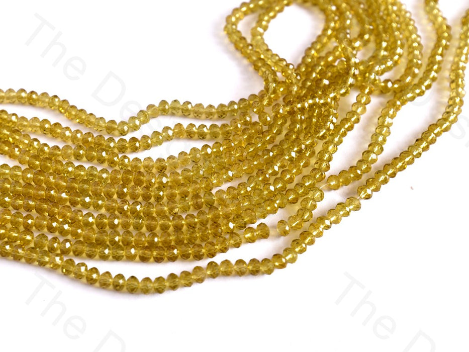 Yellow / Lemon Transparent Rondelle / Tyre Faceted Crystal Beads