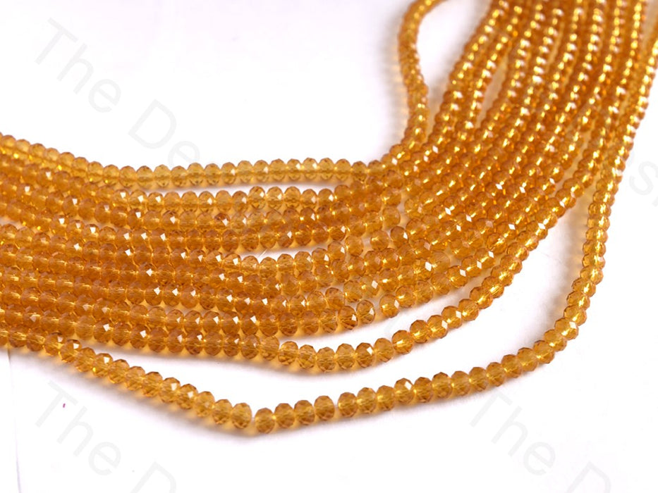 Brown Transparent Rondelle / Tyre Faceted Crystal Beads