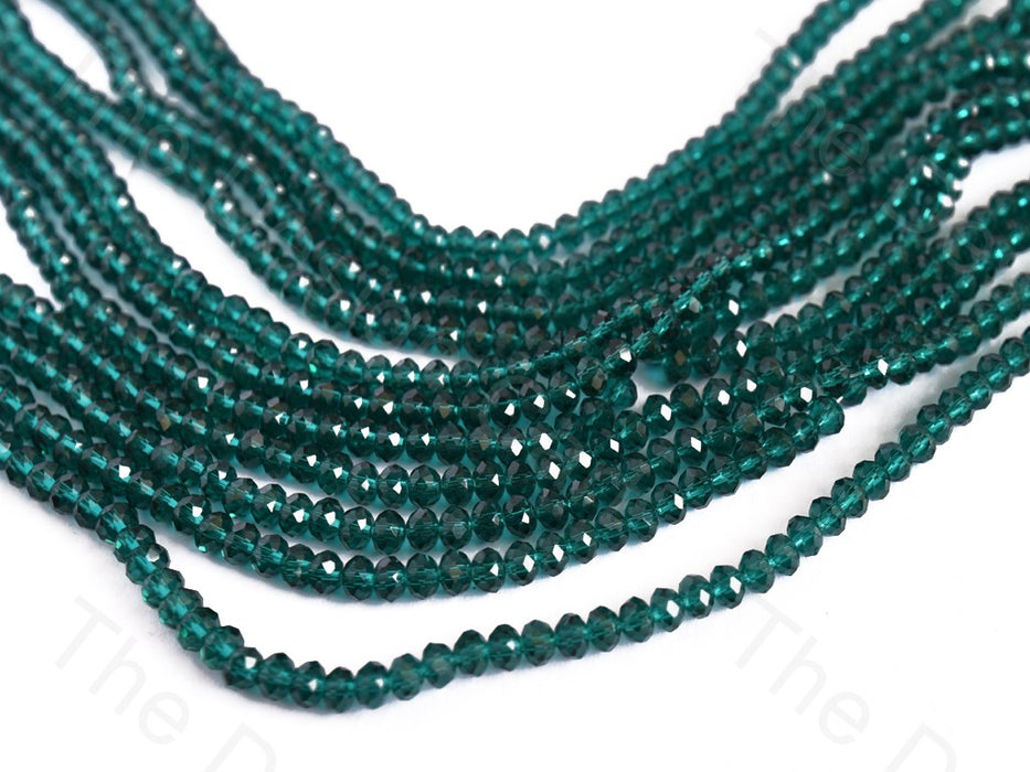Teal Transparent Rondelle / Tyre Faceted Crystal Beads