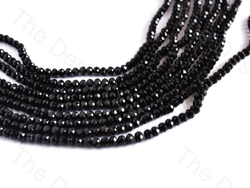 Jet Black Rondelle / Tyre Faceted Crystal Beads