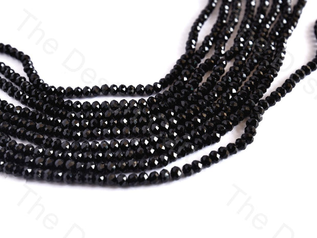 Jet Black Rondelle / Tyre Faceted Crystal Beads | The Design Cart
