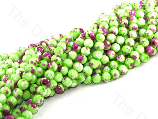Neon Green Pink Designer Spherical Glass Pearl