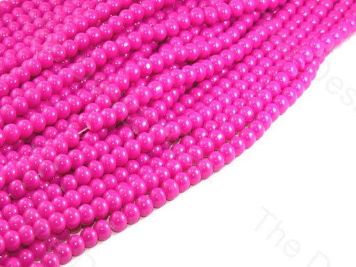 Bright Pink Spherical Glass Pearl