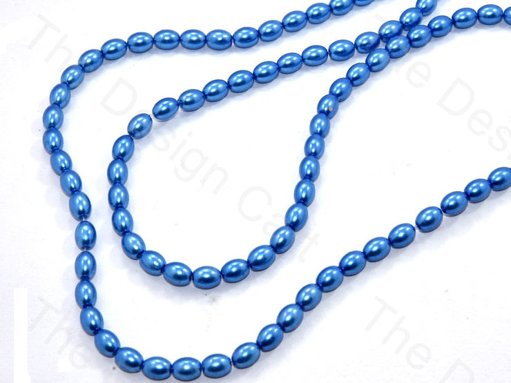 Blue Oval Shaped Glass Pearl | The Design Cart (531403472930)