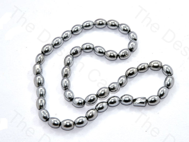 Metallic Silver Oval Shaped Glass Pearl | The Design Cart (531403735074)