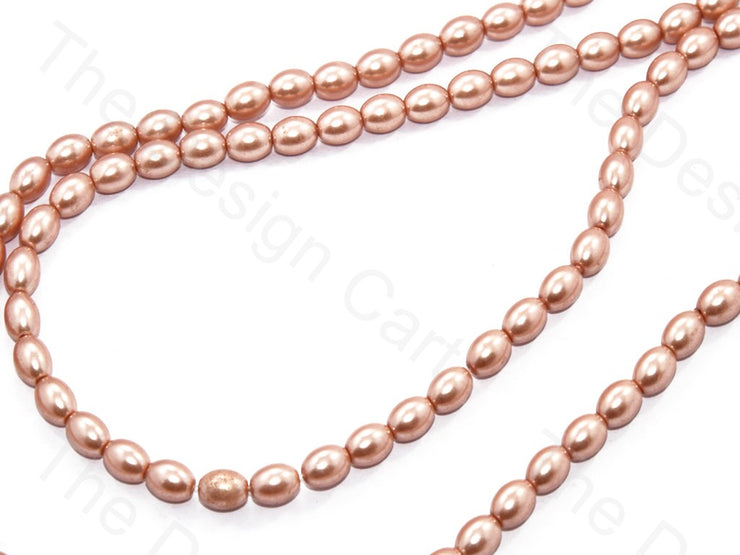 Peach Golden Oval Shaped Glass Pearl | The Design Cart (531403767842)