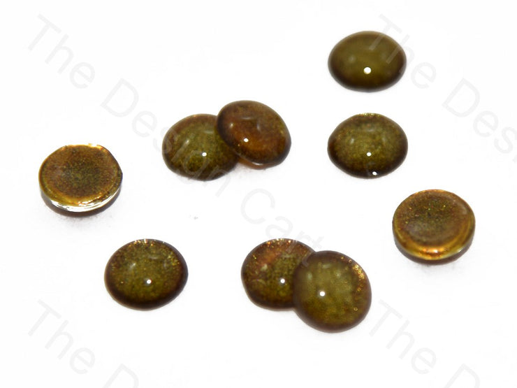 Brown Green Circular Glass Stones