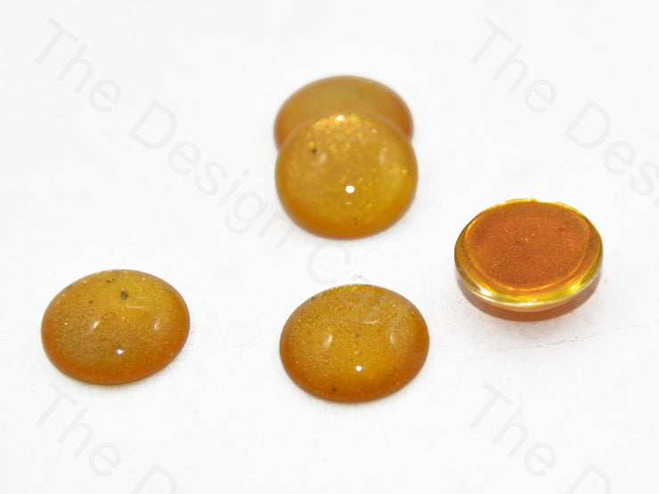 Yellow Circular Glass Stones (401483104290)