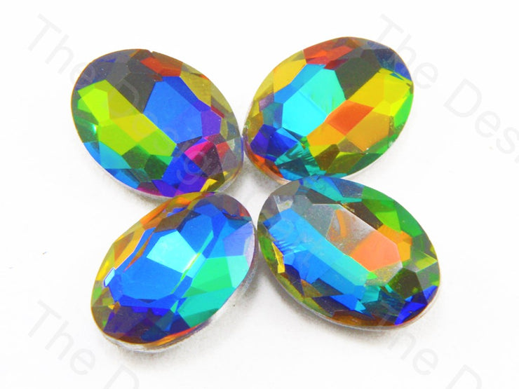 Rainbow / Multicolour Oval Shaped Glass stone
