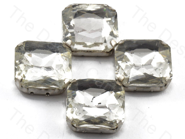 White / Crystal Square Shaped Glass stone - With Catcher (11210752787)