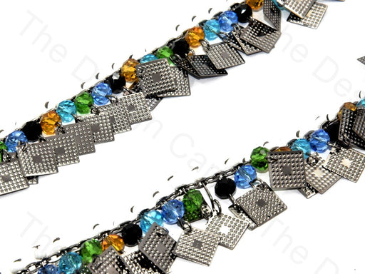 Multicolour Square Design Silver Metal Chain