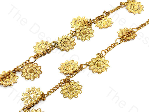 Sunflower Design Golden Metal Chain
