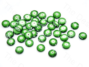 Green White Circular Plastic Beads