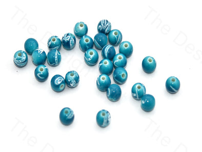 Blue White Spherical Plastic Beads