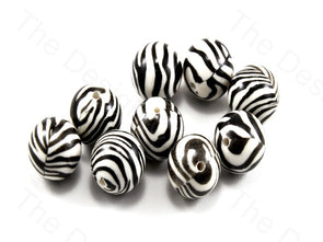 Zebra Print Spherical Plastic Printed Beads
