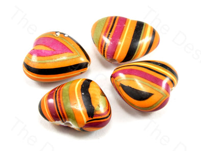 Multicolour Orange Base Heart Plastic Printed Beads
