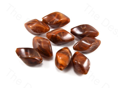 Brown Drum Plastic Printed Beads