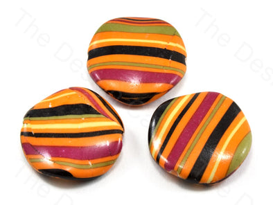 Multicolour Orange Base Circular Plastic Printed Beads