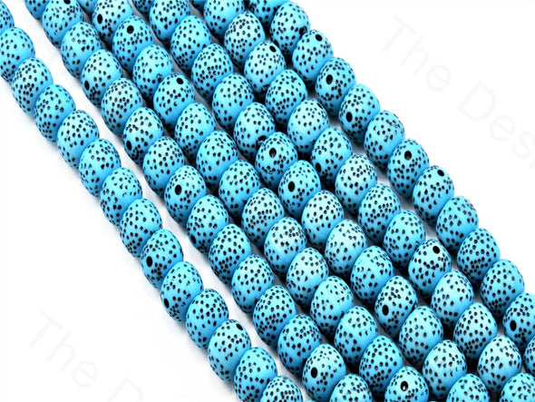 Aqua Blue Spherical Plastic Printed Beads