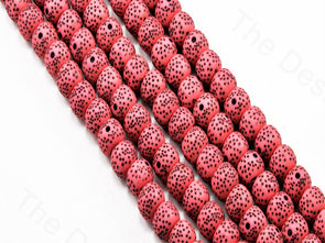 Baby Pink Spherical Plastic Printed Beads