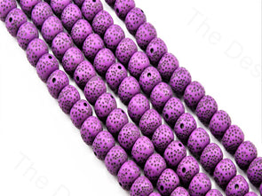 Dark Purple Plastic Printed Beads