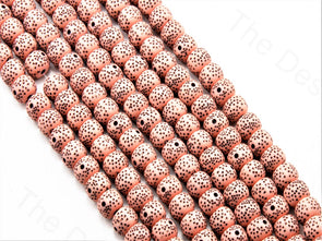 Peach Plastic Printed Beads