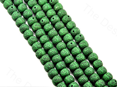 Dark Green Spherical Plastic Printed Beads