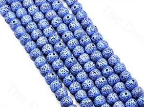 Blue Spherical Plastic Printed Beads