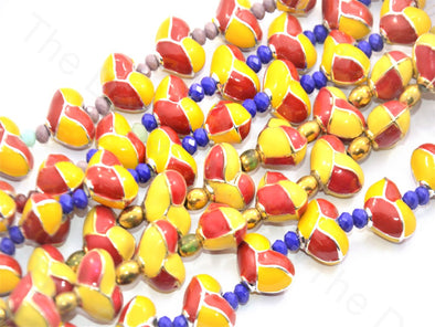 Red Yellow Heart Shape Metallic Plastic Beads