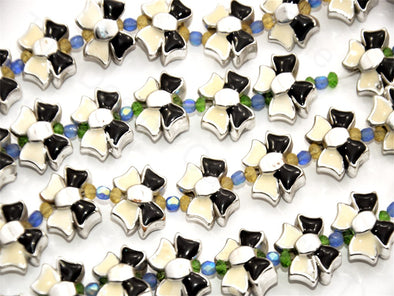 White Black Ribbon Shape Metallic Plastic Beads