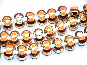 Orange Brown Axe Shape Metallic Plastic Beads