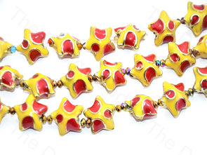 Red Yellow Star Shape Metallic Plastic Beads