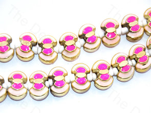 Pink White Axe Shape Metallic Plastic Beads