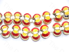 Red Yellow Axe Shape Metallic Plastic Beads