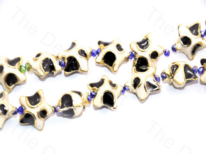 White Black Star Shape Metallic Plastic Beads
