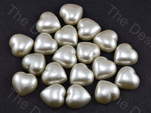Cream Opaque Heart Shaped Plastic Stone