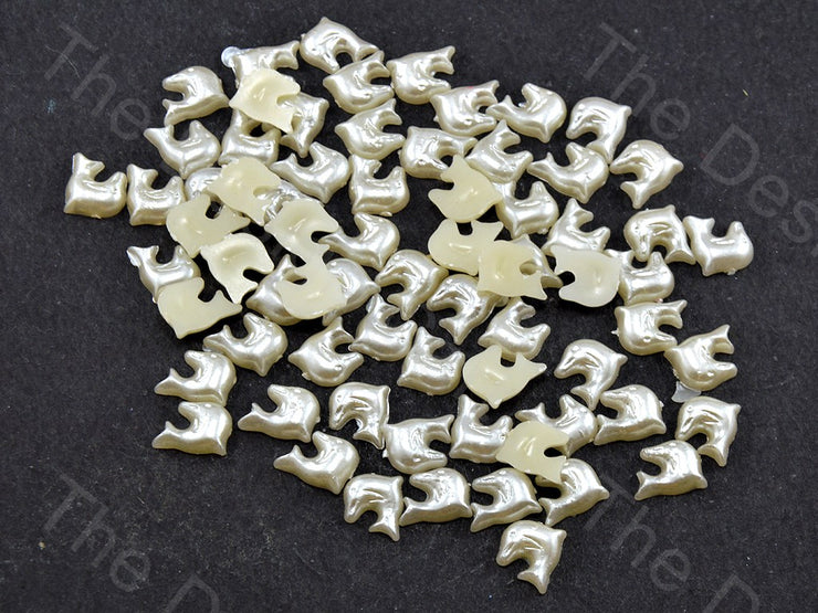 Cream Opaque Dolphin Shaped Plastic Stone (11756628435)