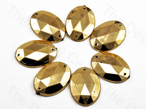 Golden Oval Shaped Plastic Stone