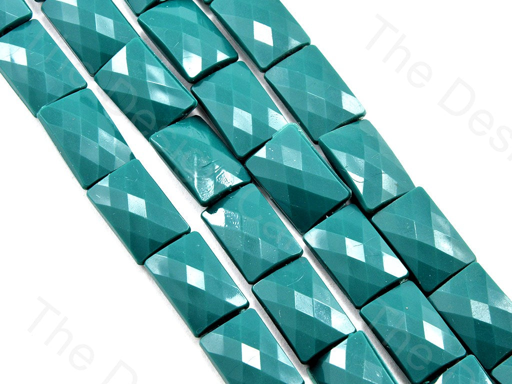 Sea Green Opaque Face Cut  Rectangle Shaped