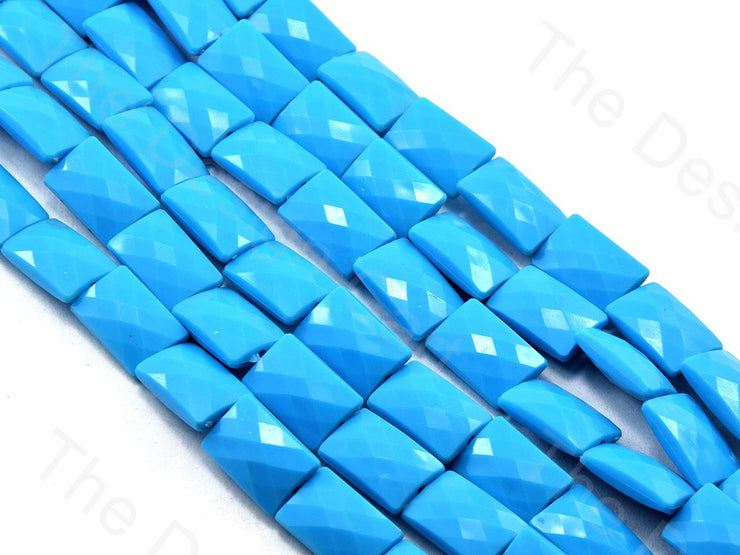 Blue Opaque Face Cut Rectangle Shaped
